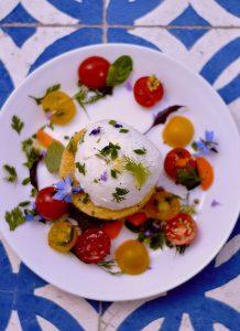 mozzarelle burrata polenta aux herbes