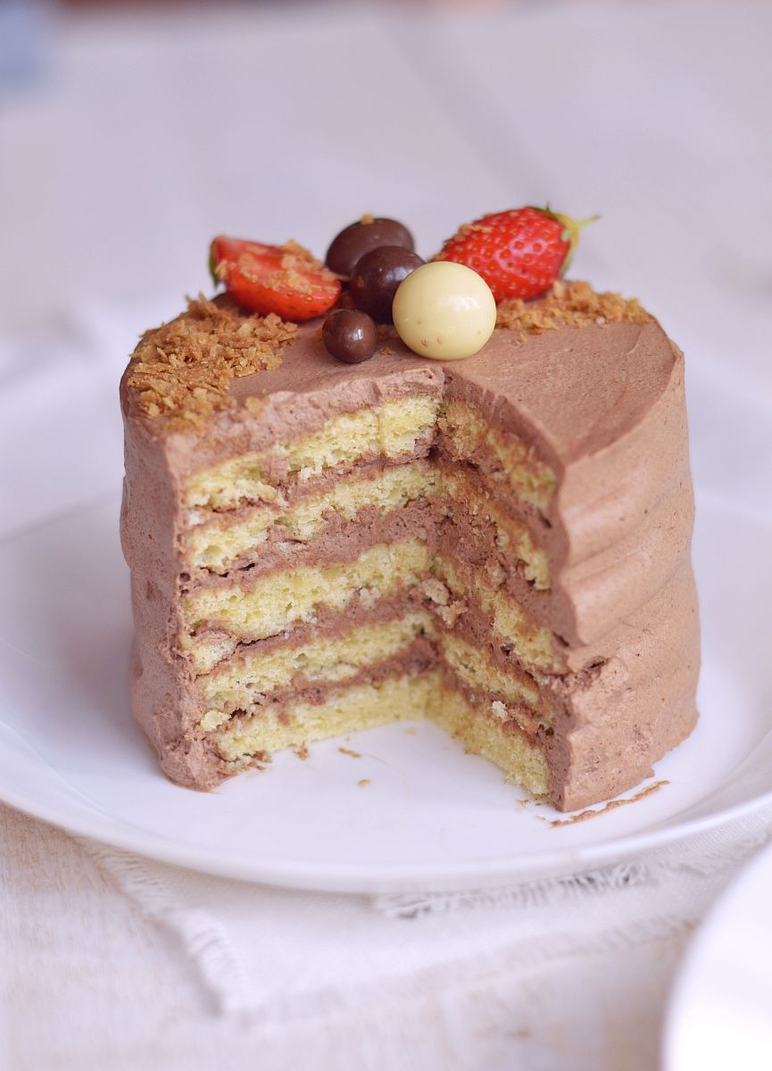 layer cake sans lait fraises chocolat
