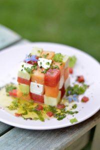 salade été melon pastèque feta courgette avocat en forme de cube