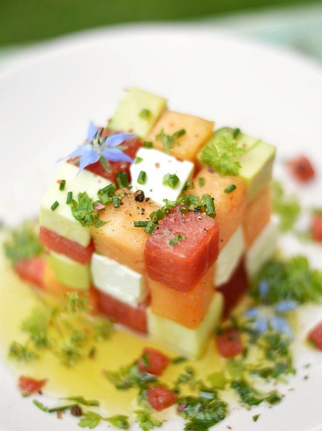 salade éstivale multicolore pastèque courgette feta melon