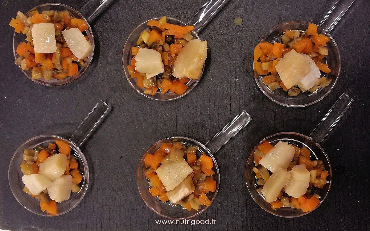 nois de st jacques a la truffe et petits legumes