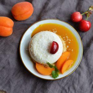 recette dessert végétal pannacotta coco abricots cerises