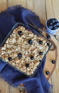 crumble myrtilles désucré sans lait sans oeufs faible en gluten