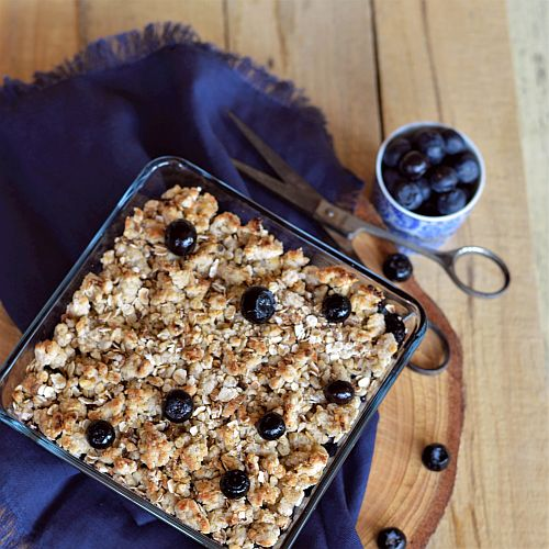 Crumble myrtilles sans sucre … et hygge