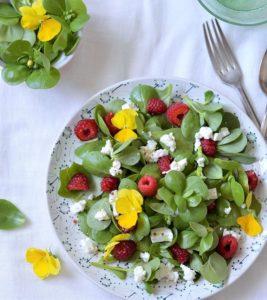 salade pourpier feta framboises