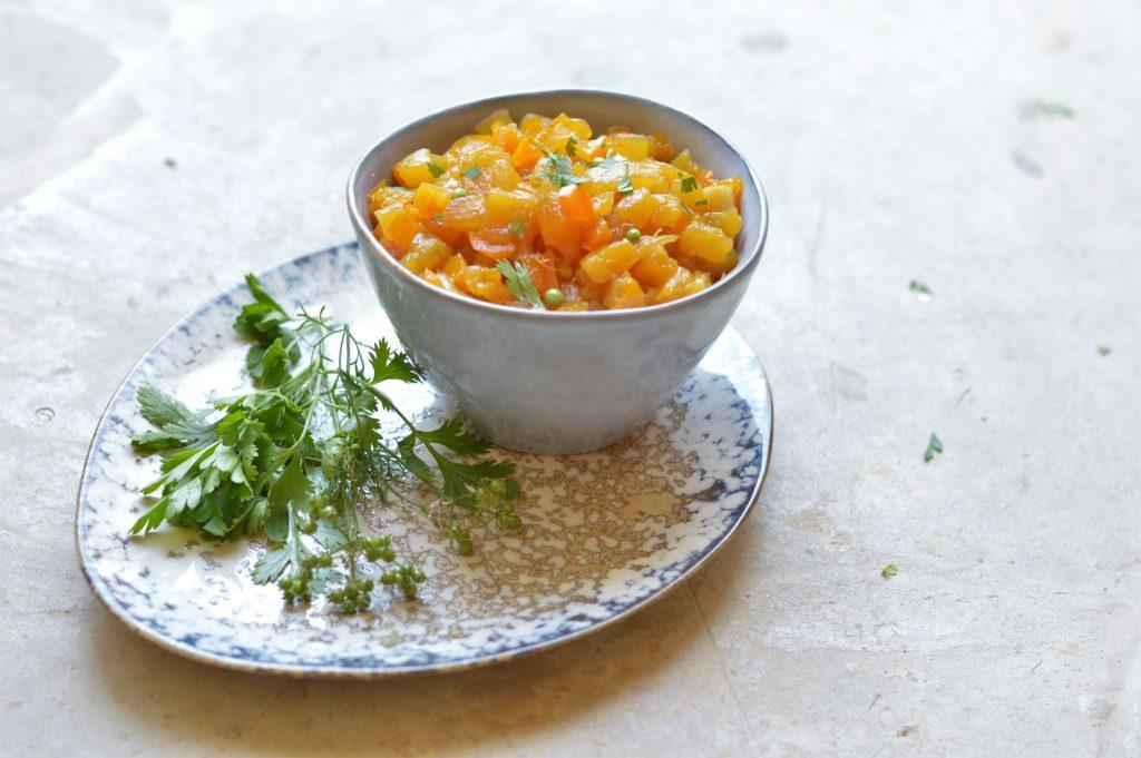 recette apéritive ananas poivron curry coriadre